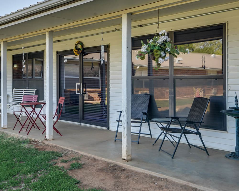Back porch with seating at Pleasant Valley in Sedan, Kansas