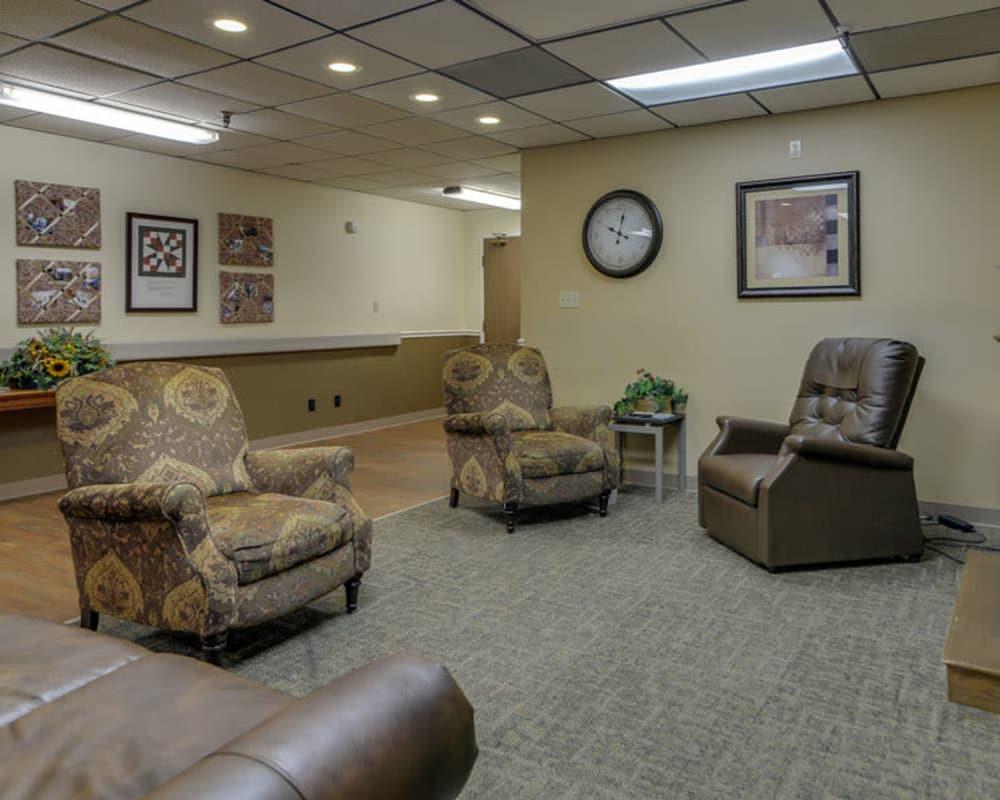 Cozy lounge area at Pleasant Valley in Sedan, Kansas
