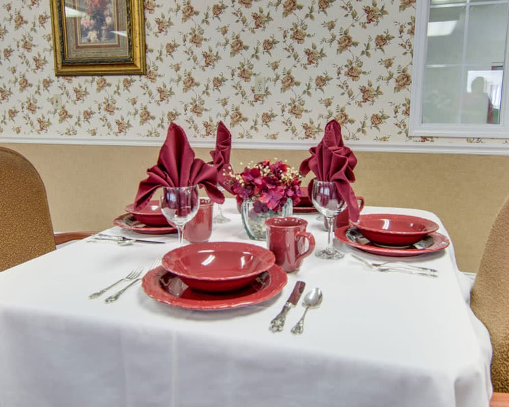 Well decorated dining area table at Osage Nursing Center in Osage City, Kansas