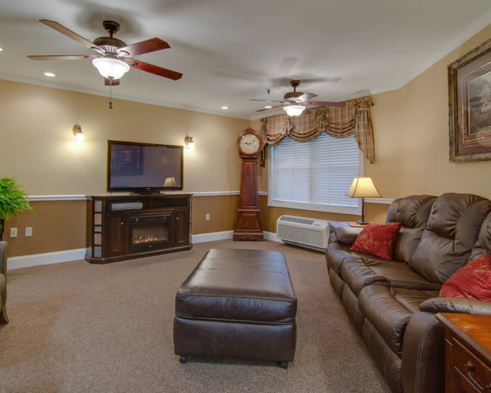 Cozy entertainment room at Osage Nursing Center in Osage City, Kansas
