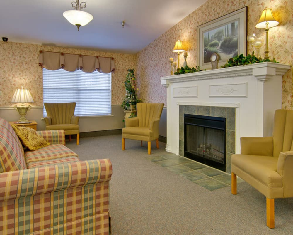 Cozy fireside lounge at Cypress Point in Dexter, Missouri
