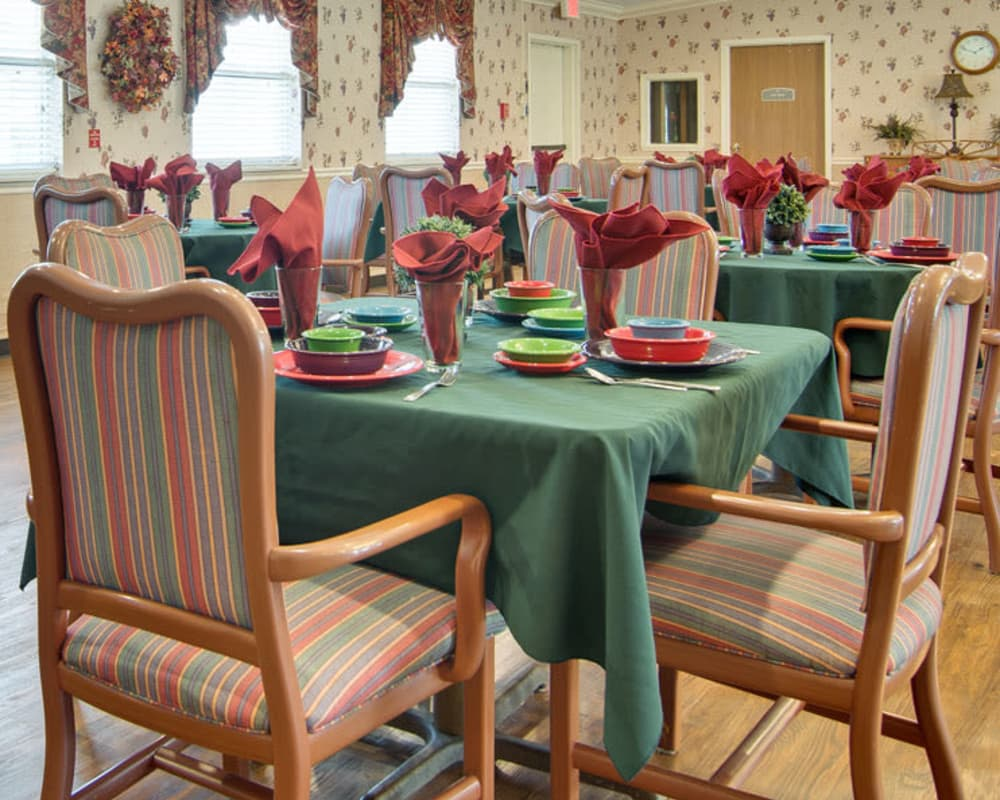 Well decorated dining area table at Heritage Nursing Center in Kennett, Missouri