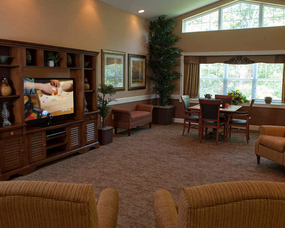 Cozy entertainment room at The Neighborhoods by TigerPlace in Columbia, Missouri