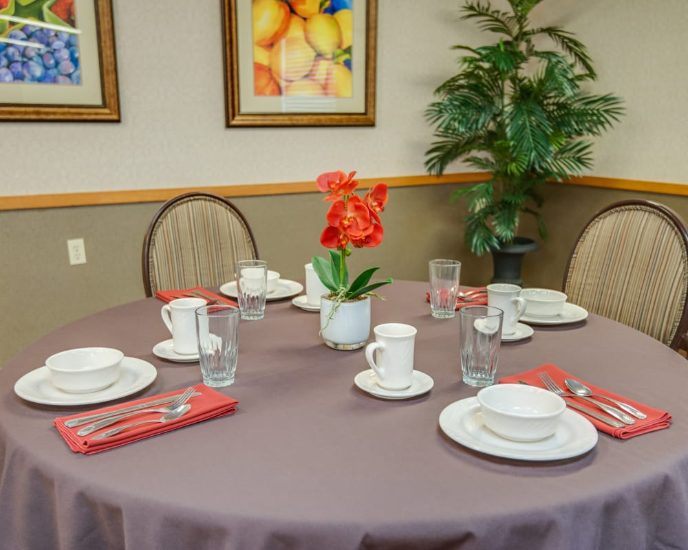 Well decorated dining area table at Chaffee Nursing Center in Chaffee, Missouri