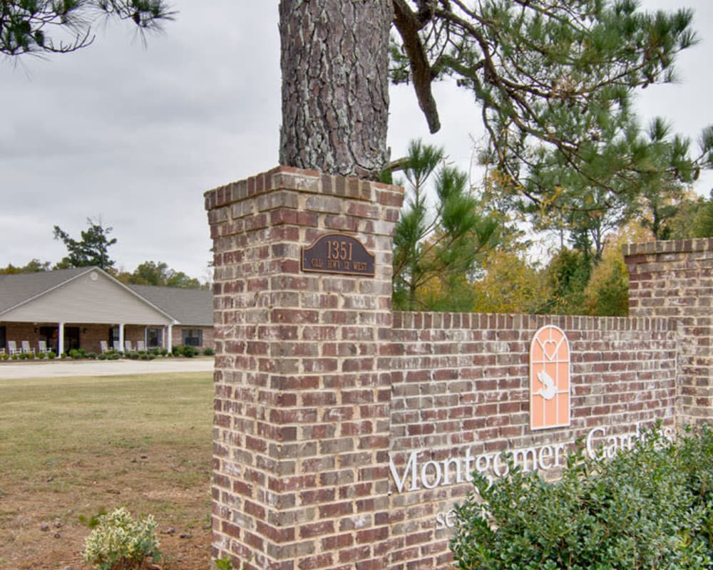 Main sign in front of  Montgomery Gardens in Starkville, Mississippi