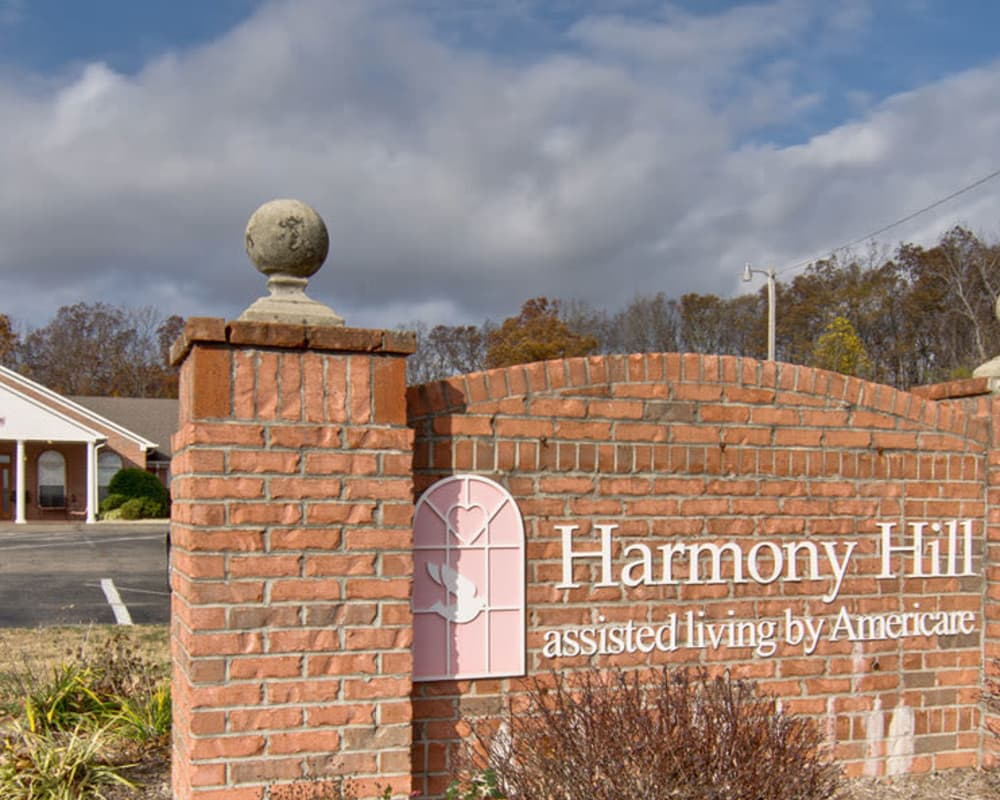 Main sign at Harmony Hill in Huntingdon, Tennessee
