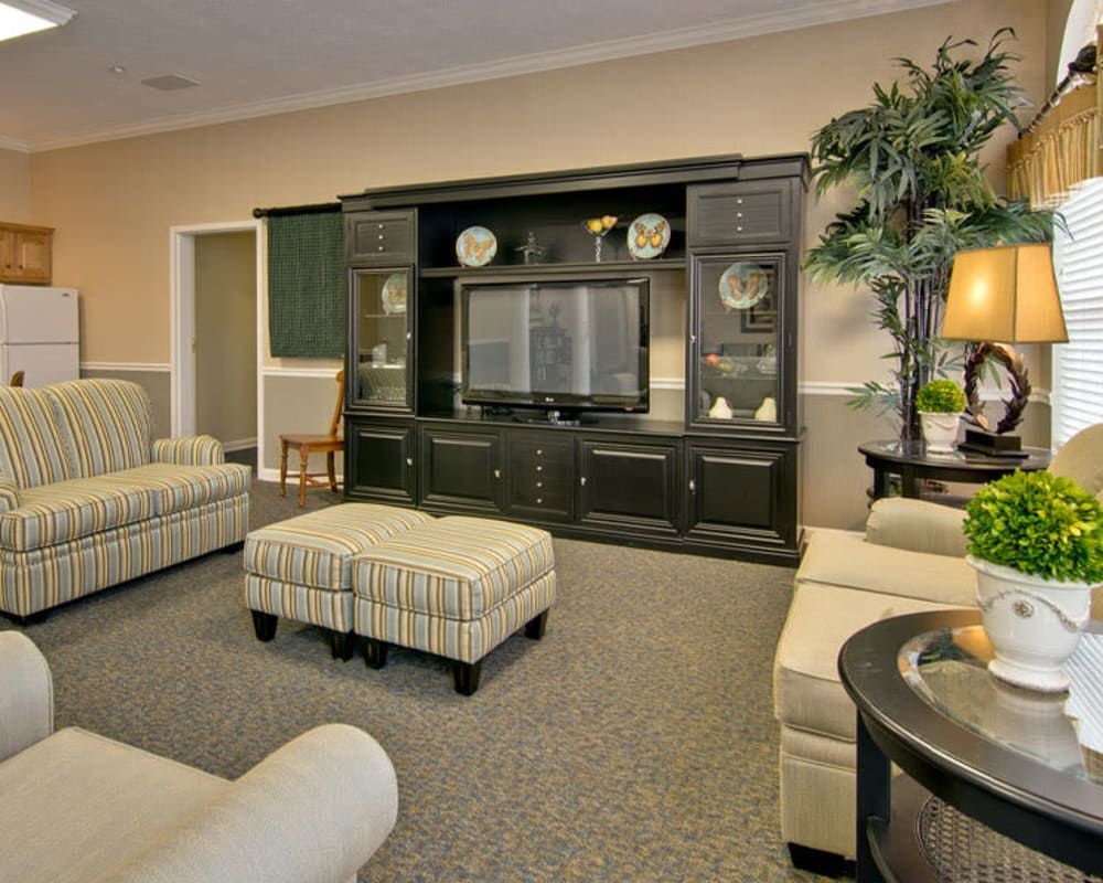 Cozy entertainment area at Harmony Hill in Huntingdon, Tennessee