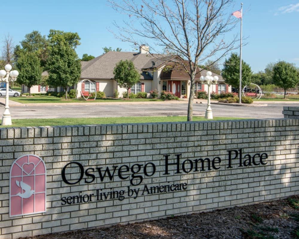 Main sign at Oswego Home Place in Oswego, Kansas