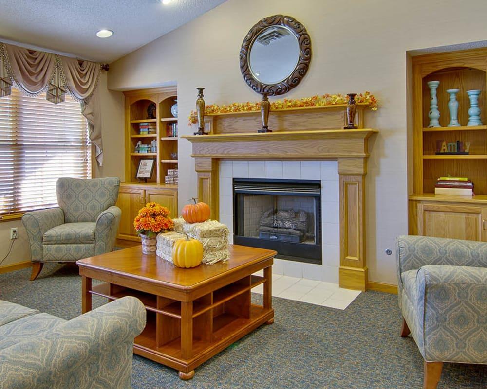 Cozy fireside seating at Jefferson Gardens in Clinton, Missouri