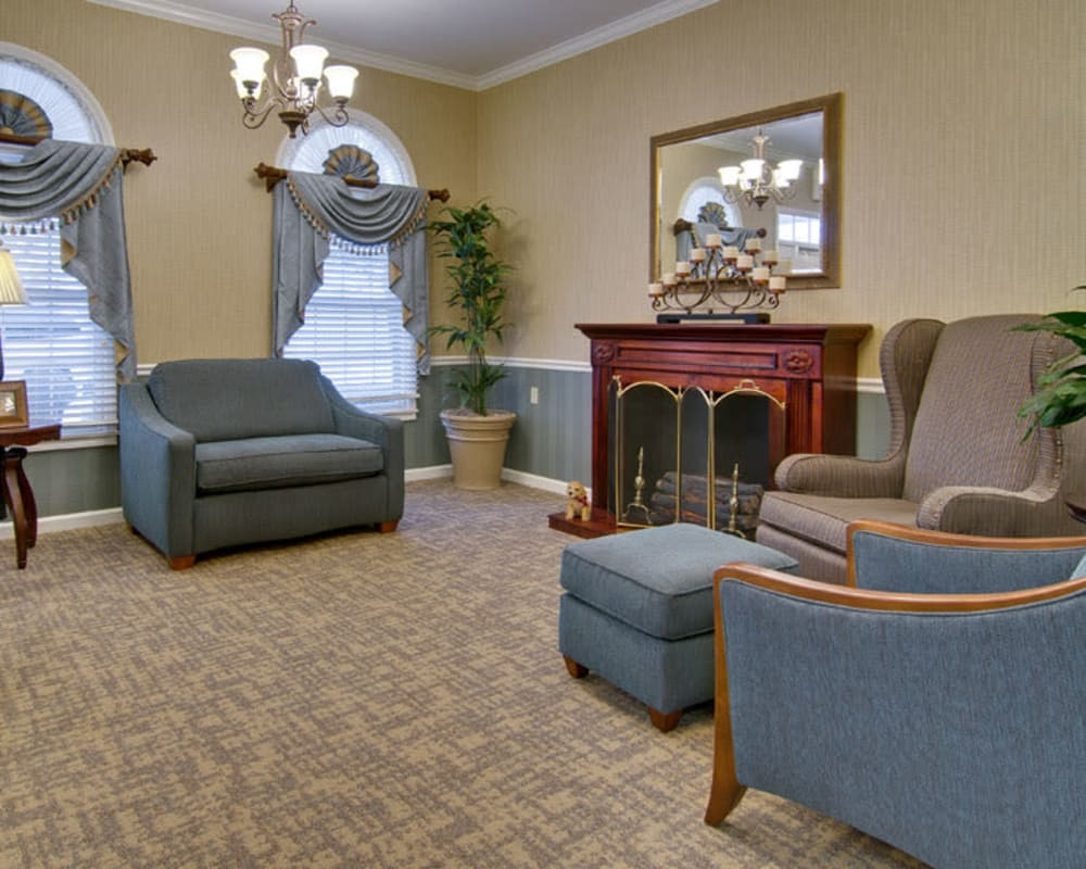 Cozy fireside seating at Maple Tree Terrace in Carthage, Missouri
