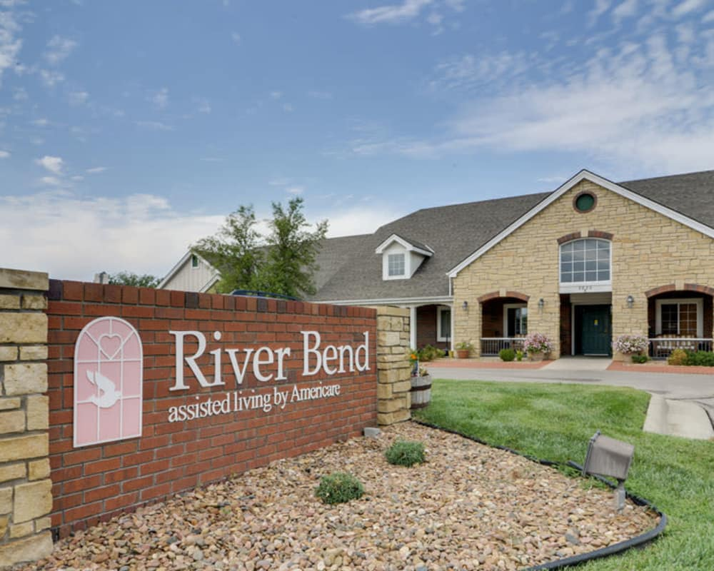 Main sign at River Bend in Great Bend, Kansas