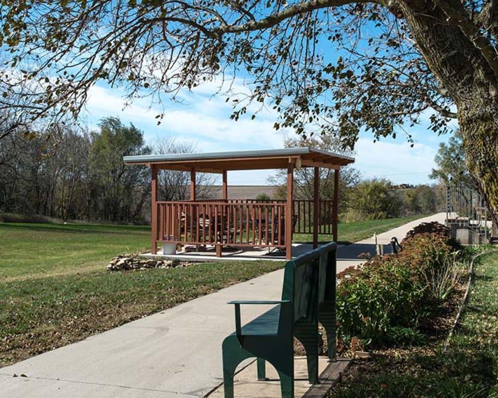 Covered outdoor seating at Sabetha Manor in Sabetha, Kansas