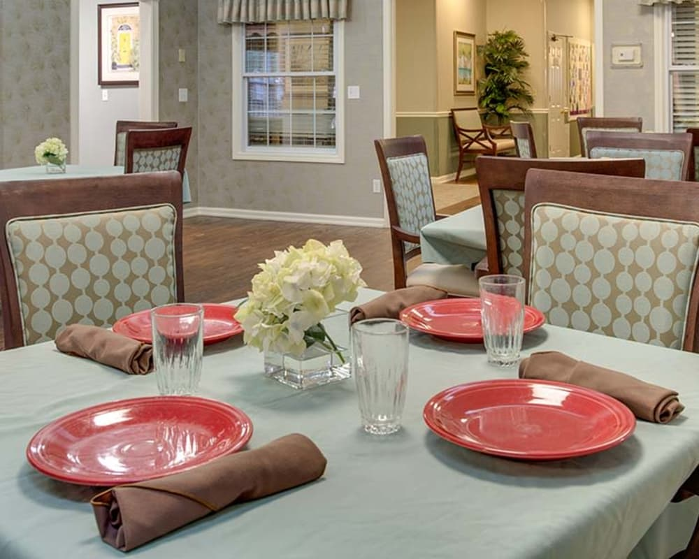 Well decorated dining area table at NorthPark Village Senior Living in Ozark, Missouri