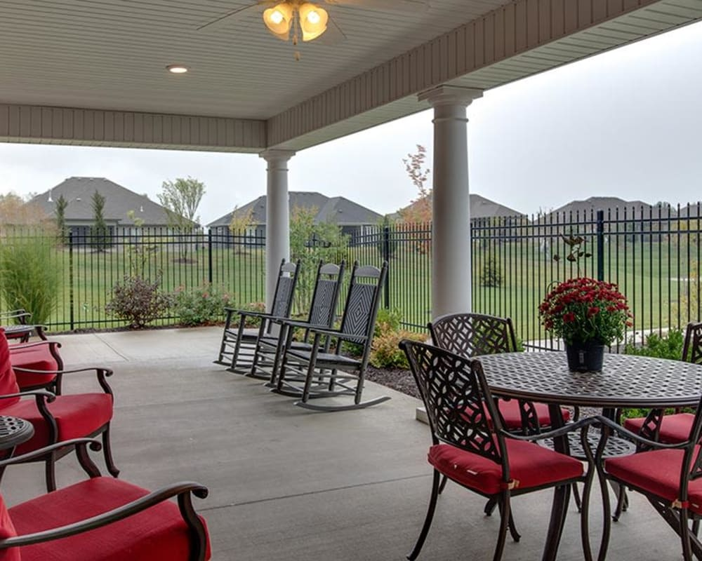 Covered outdoor seating at Mill Creek Village in Columbia, Missouri