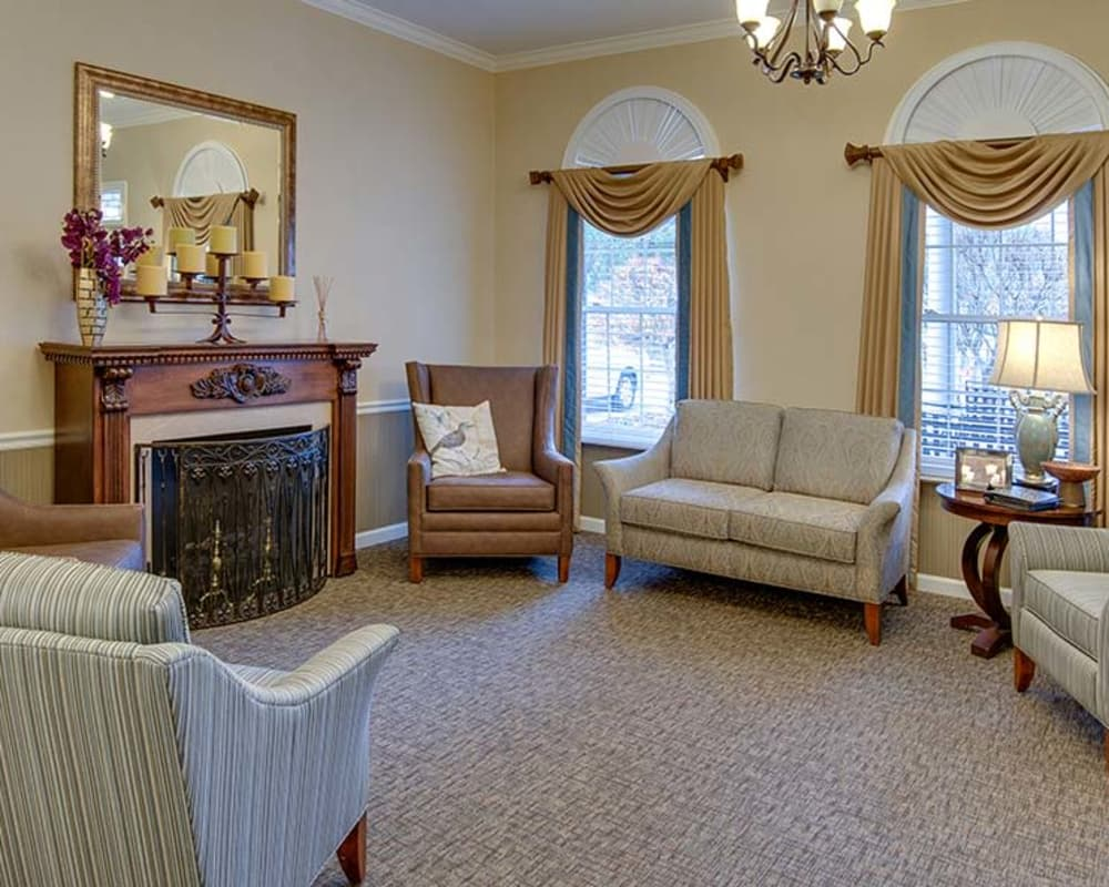 Cozy fireside seating at Dogwood Pointe in Milan, Tennessee