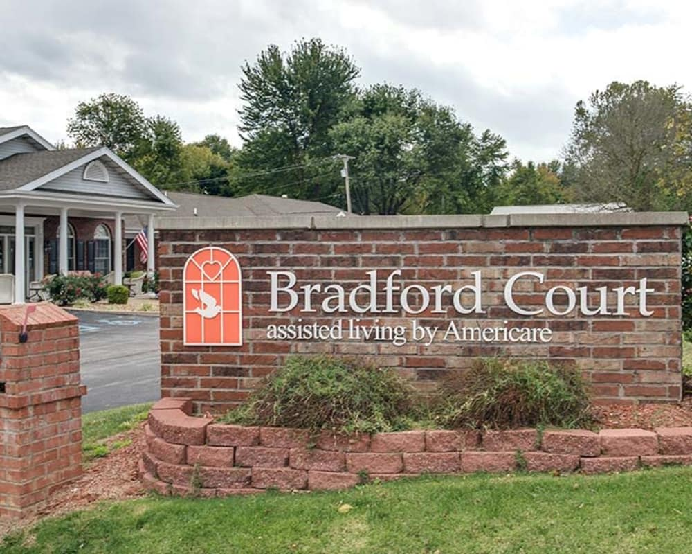 Main sign at Bradford Court in Nixa, Missouri