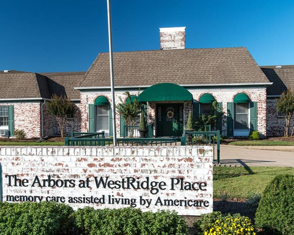 Front entrance at The Arbors at WestRidge Place Senior Living in Sikeston, Missouri