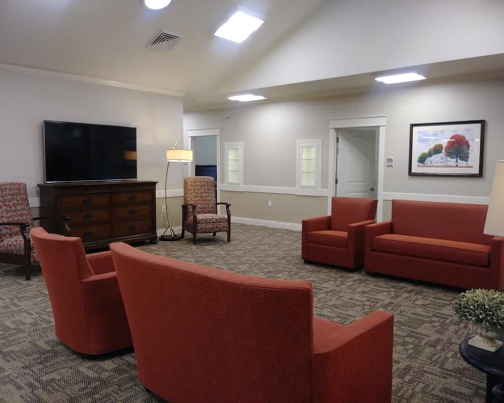 Entertainment room at The Arbors at Harmony Gardens in Warrensburg, Missouri