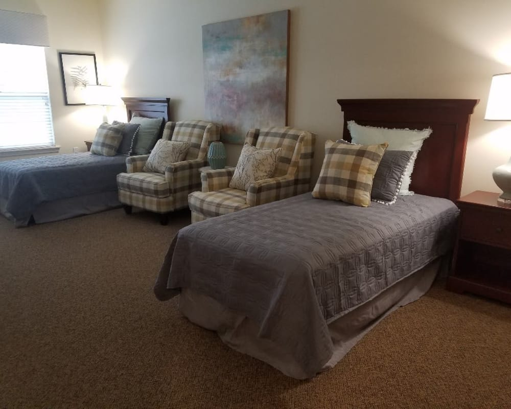 2 person bedroom at The Arbors at Harmony Gardens in Warrensburg, Missouri