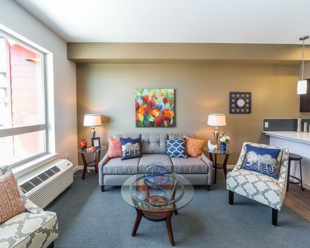 Enjoy a luxury living room at South Block Apartments in Salem, Oregon