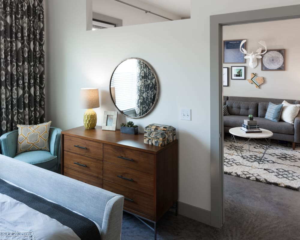 Spacious bedroom at Maple District Lofts in Dallas, Texas