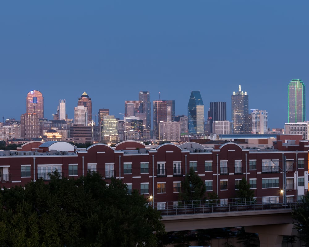 Stunning city views from Maple District Lofts in Dallas, Texas