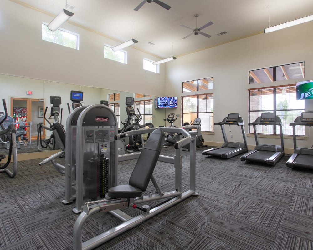 Fitness center at Ethos Apartments in Austin, Texas