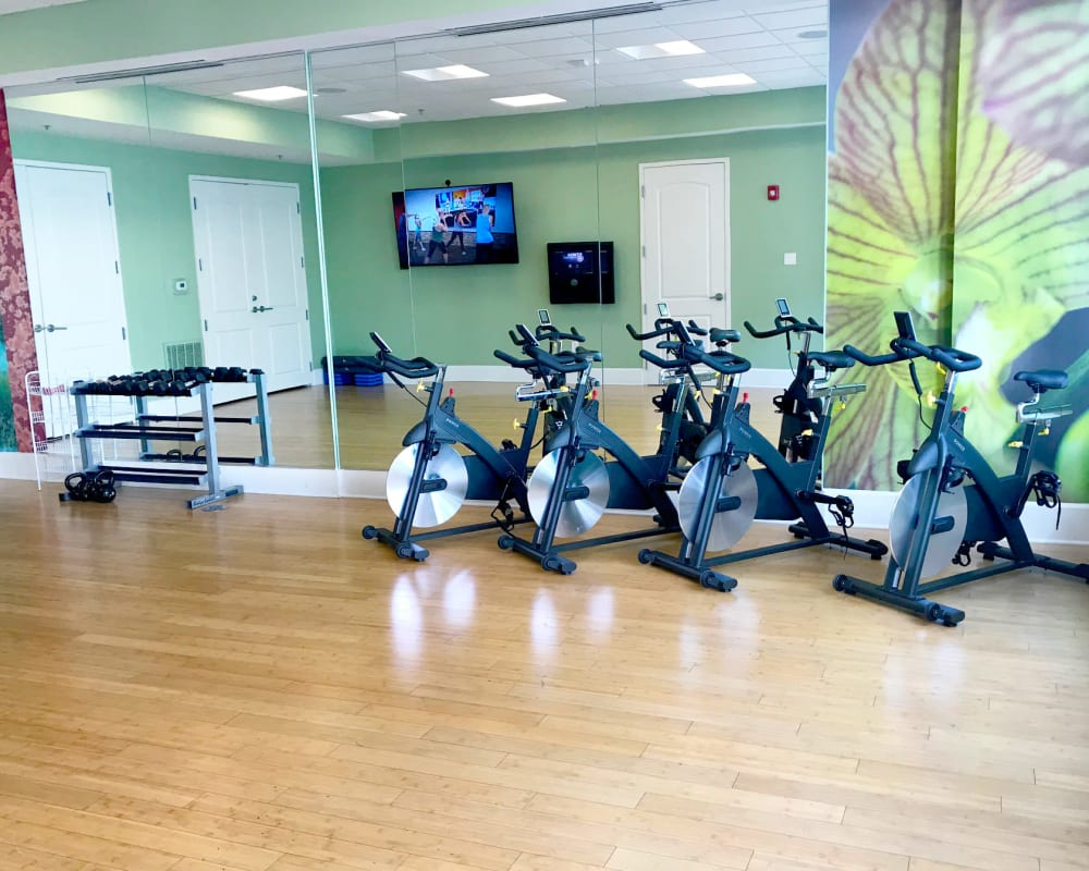 Fitness center for residents at Manor Six Forks in Raleigh, North Carolina