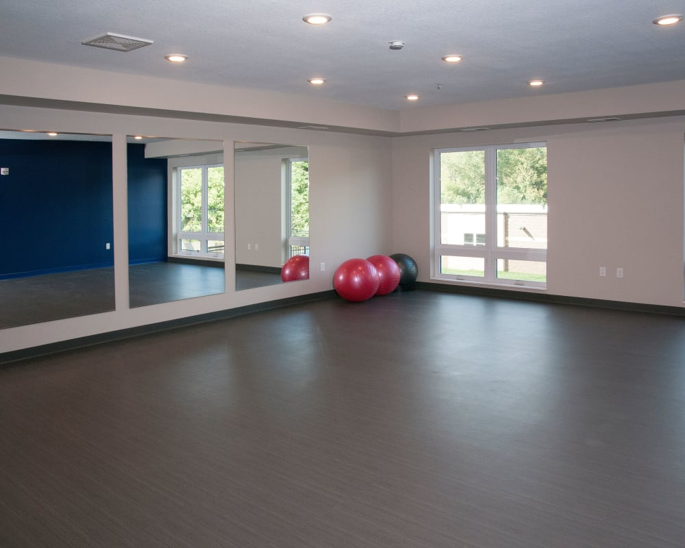 Yoga studio at Berkshire Central in Blaine, Minnesota
