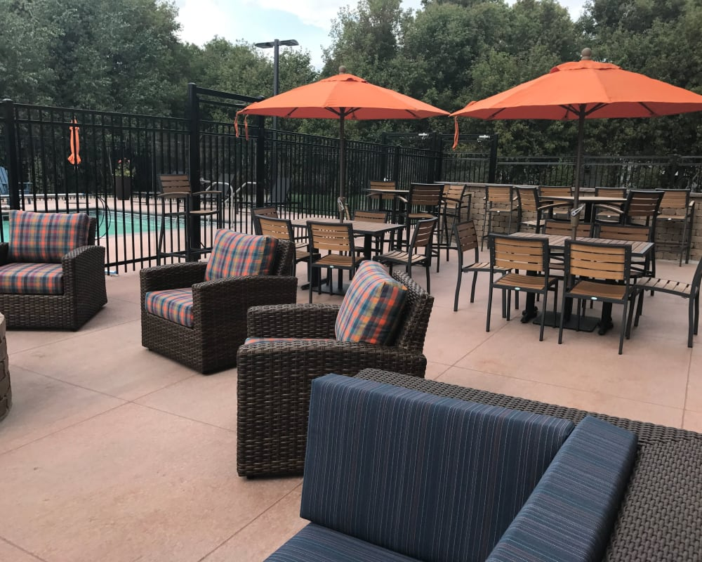 Patio seating at Berkshire Central in Blaine, Minnesota