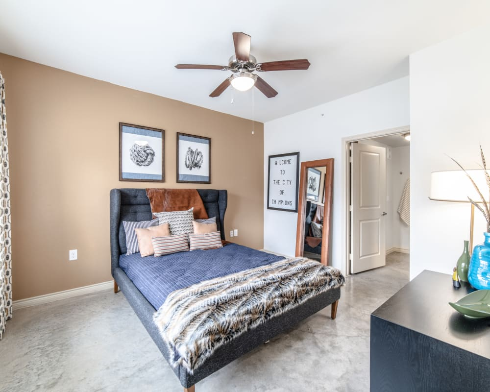 Master bedroom in Austin, Texas at Ethos Apartments