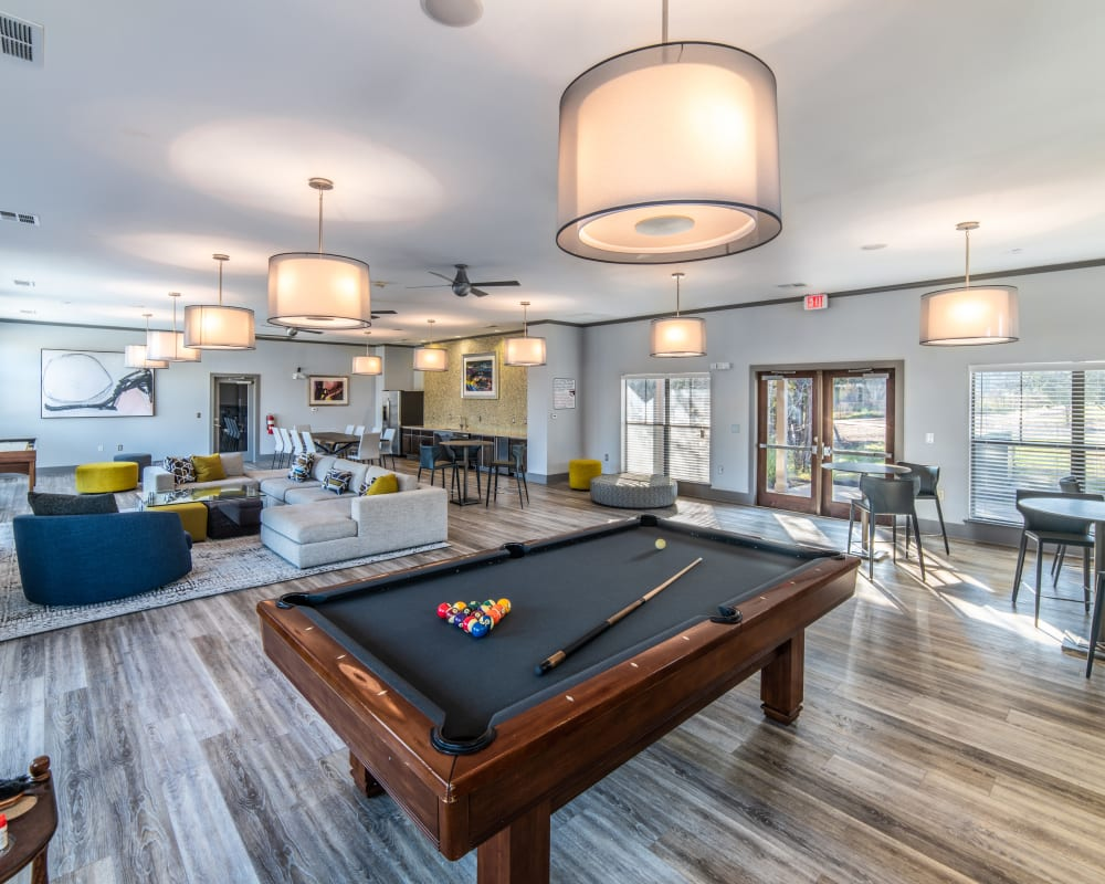 Billiard table in clubhouse at Ethos Apartments in Austin, Texas