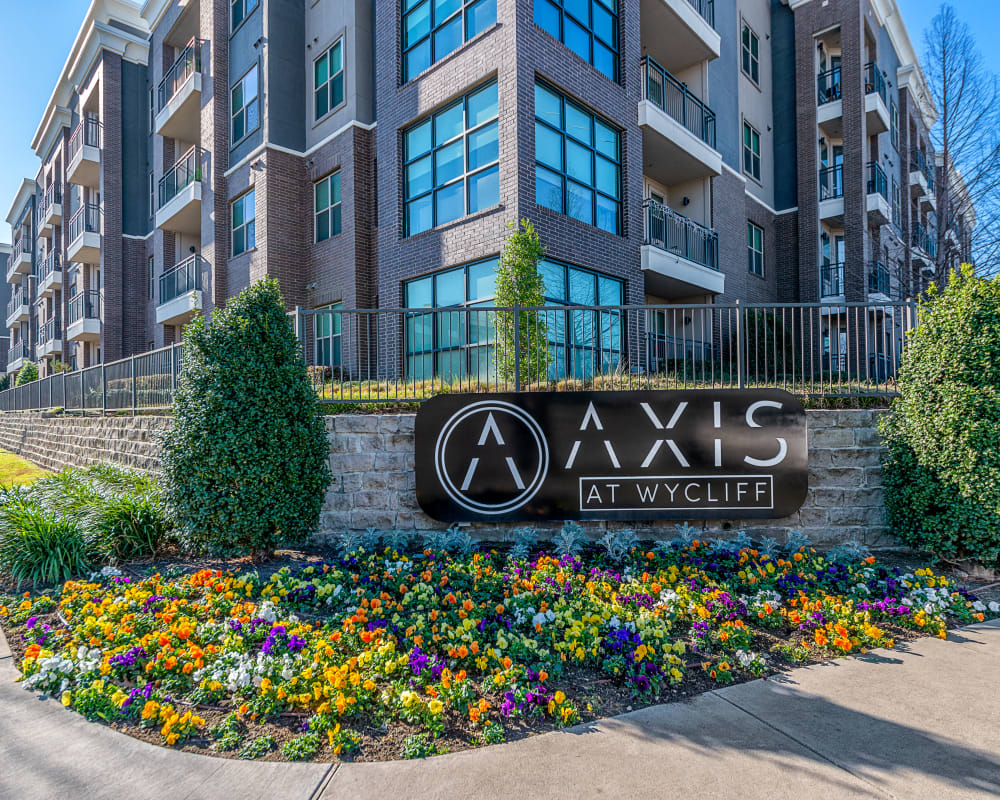Sign at front entry of Axis at Wycliff in Dallas, Texas