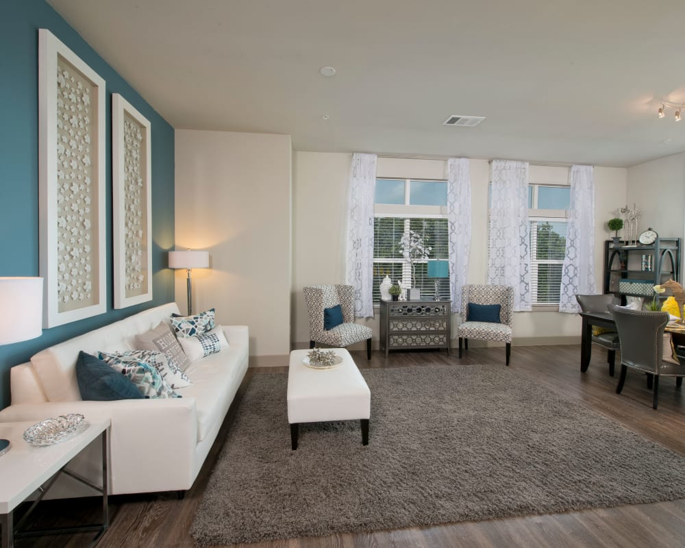 Model living room at Vargos on the Lake in Houston, Texas