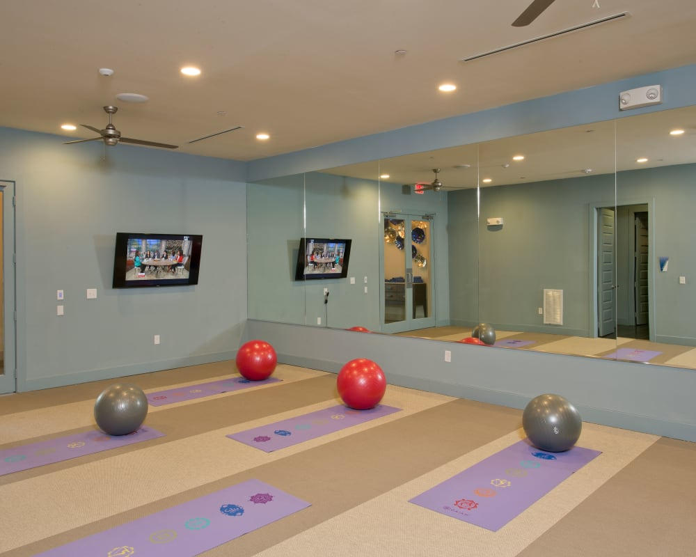 Yoga room at Vargos on the Lake in Houston, Texas