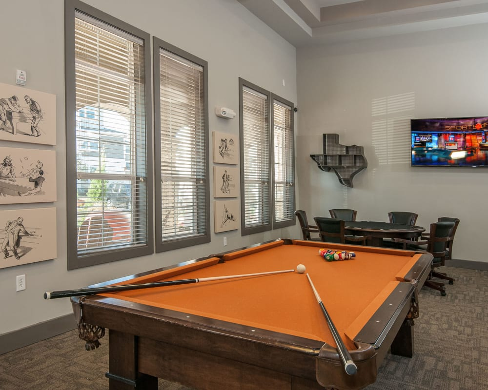 Pool table at Wiregrass at Stone Oak in San Antonio, Texas