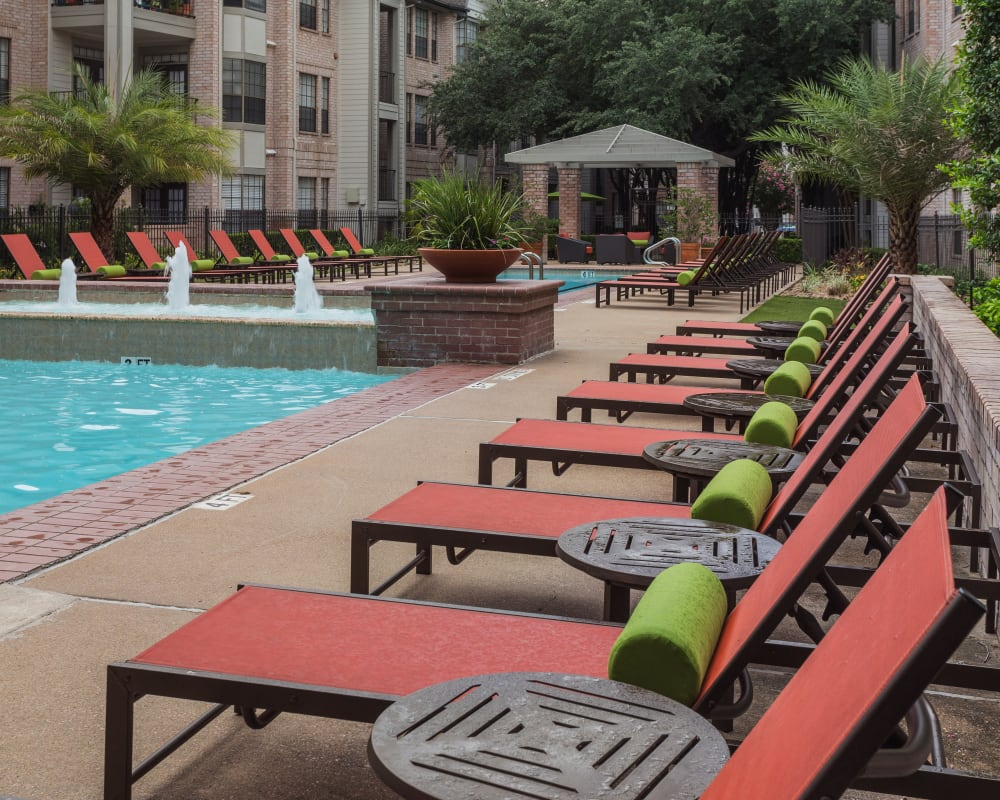 Patio seating at Greenbriar Park in Houston, Texas
