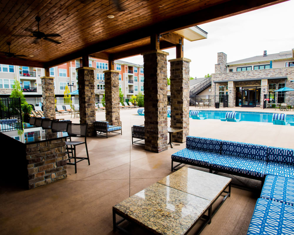Outdoor covered patio at Altitude 970 in Kansas City, Missouri.