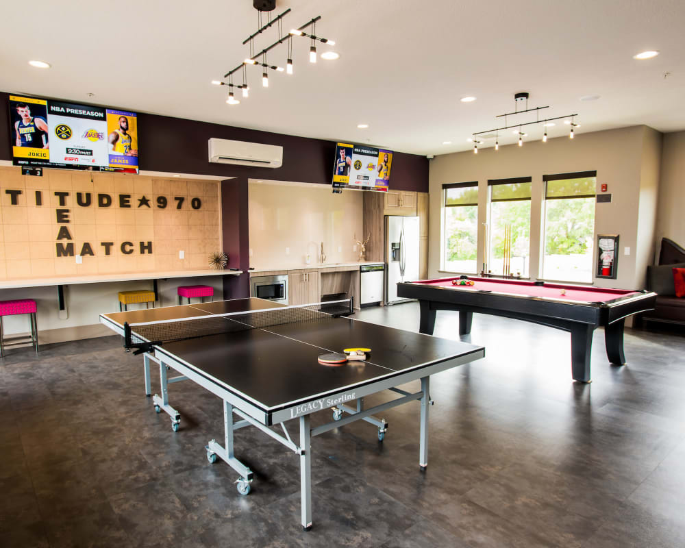 Game room with pool and ping-pong at Altitude 970 in Kansas City, Missouri.