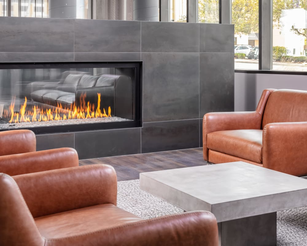 Fireside lounge at The Maven on Broadway in Rochester, Minnesota