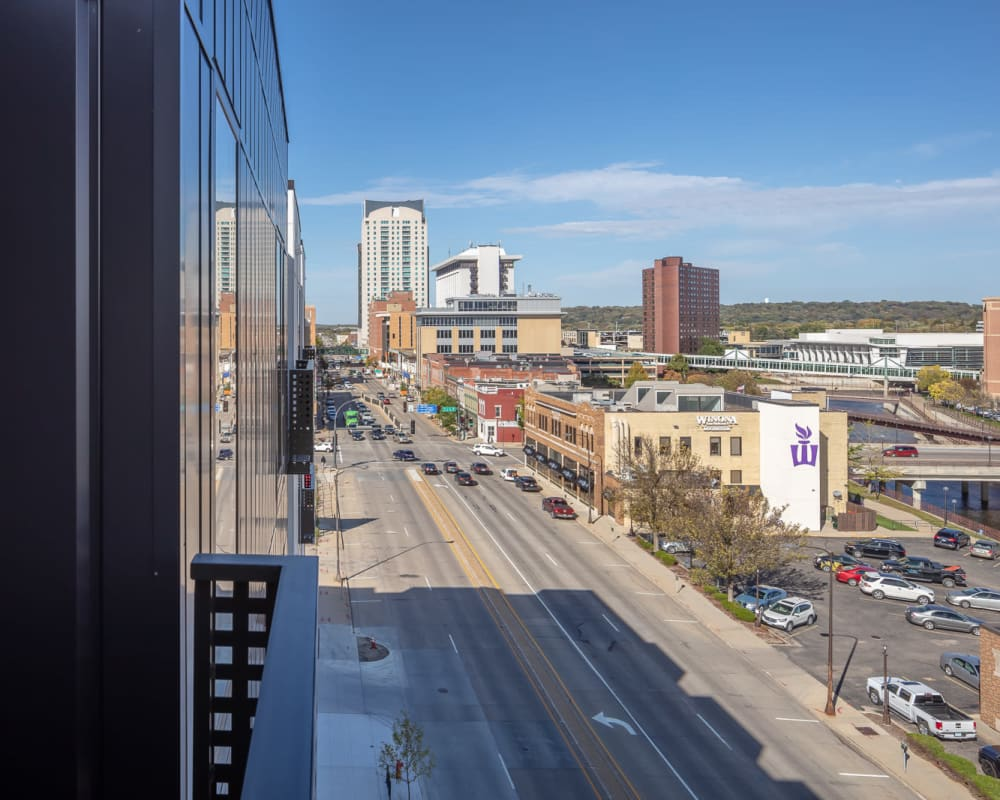 view of downtown near The Maven on Broadway in Rochester, Minnesota