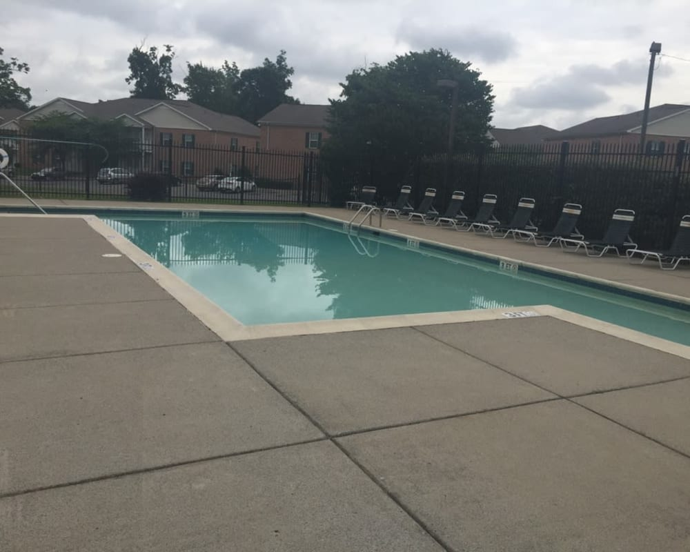 The gated pool at Orchard Park Apartments in Clarksville, Tennessee