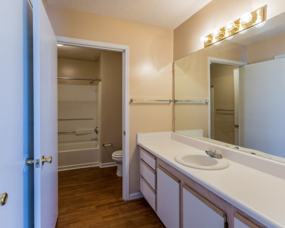 A master bathroom at Park Ridge Apartments in Jackson, Tennessee