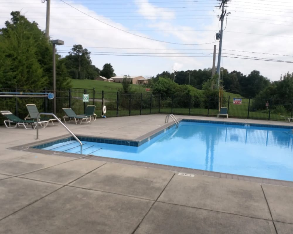 Gated pool at Park Village Apartments in Athens, Tennessee