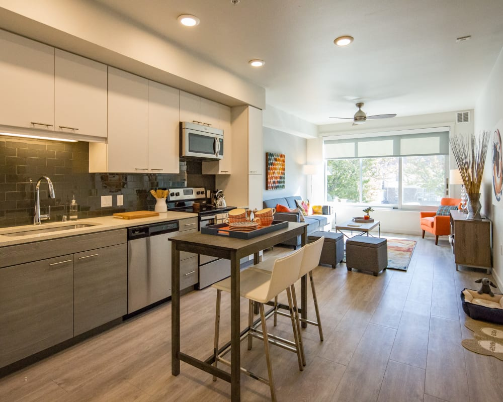 Modern kitchen with custom wood cabinetry and stainless-steel appliances in a luxury model home at EVIVA Midtown in Sacramento, California