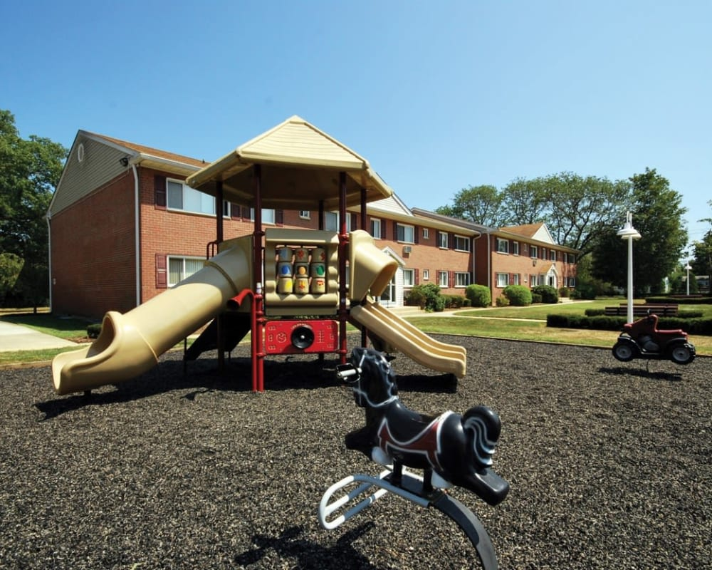 Children's playground at Mid Island Apartments in Bay Shore, New York