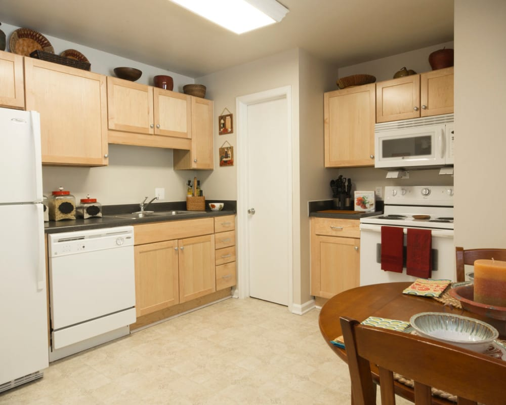 Modern kitchen appliances and large counter tops at Salem Wood Apartments in Salem, Virginia
