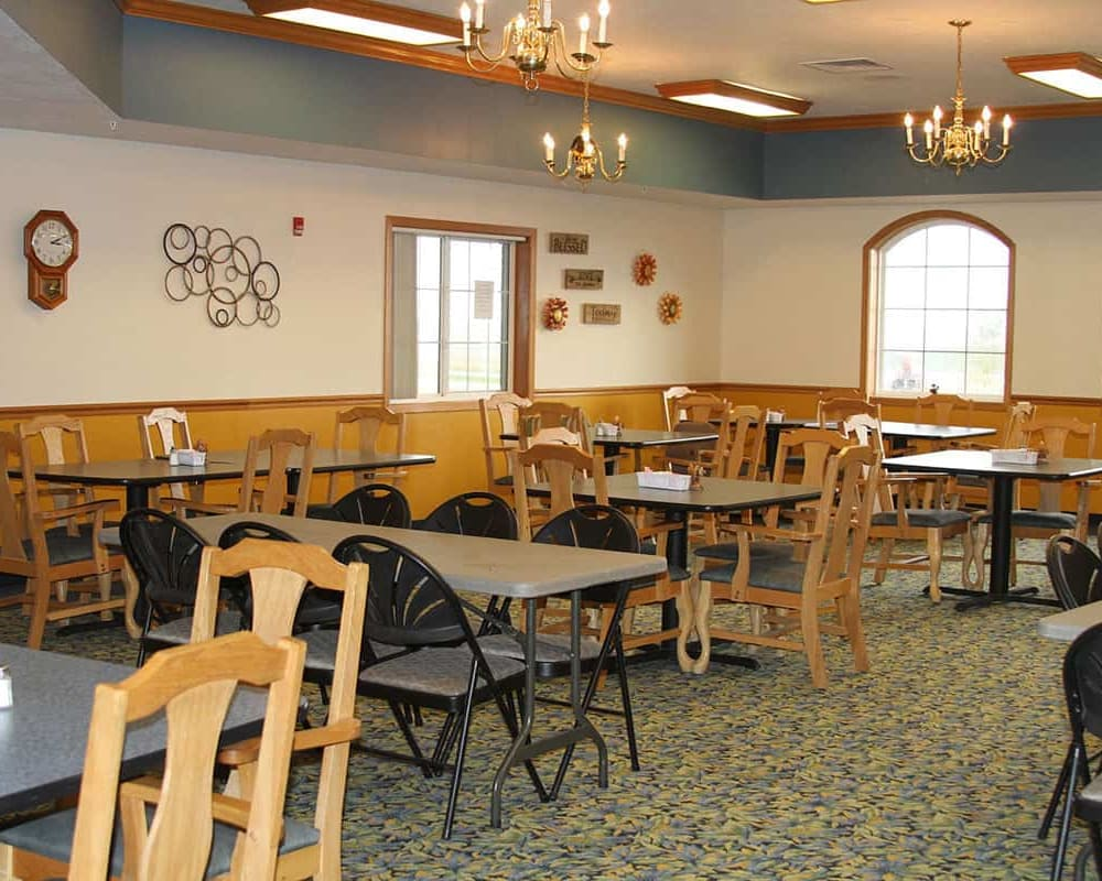 Spacious resident dining room at Holstein Senior Living in Holstein, Iowa.