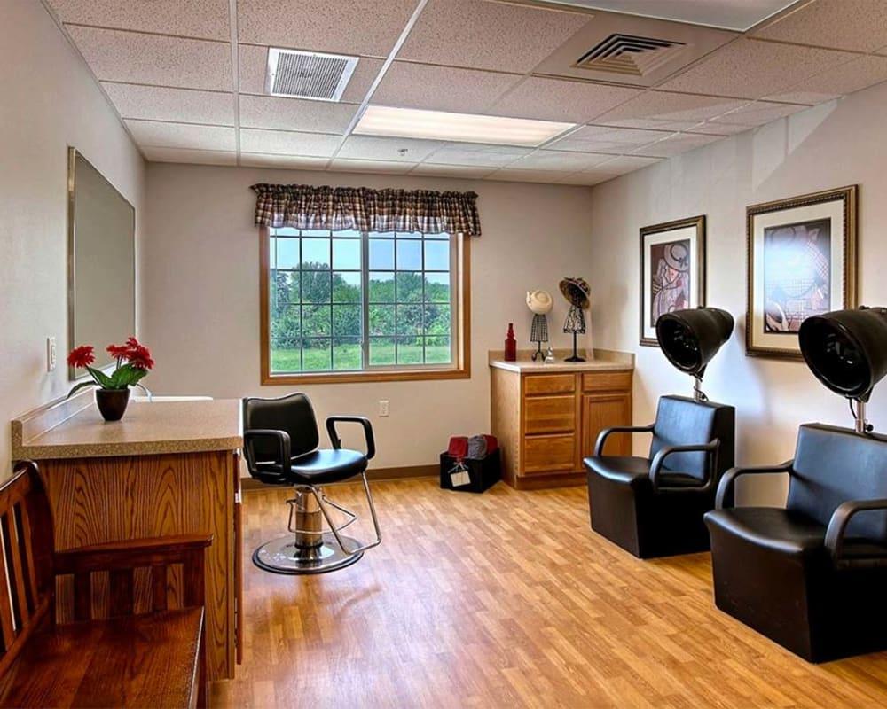 Hair salon for residents at Milestone Senior Living Hillsboro in Hillsboro, Wisconsin.