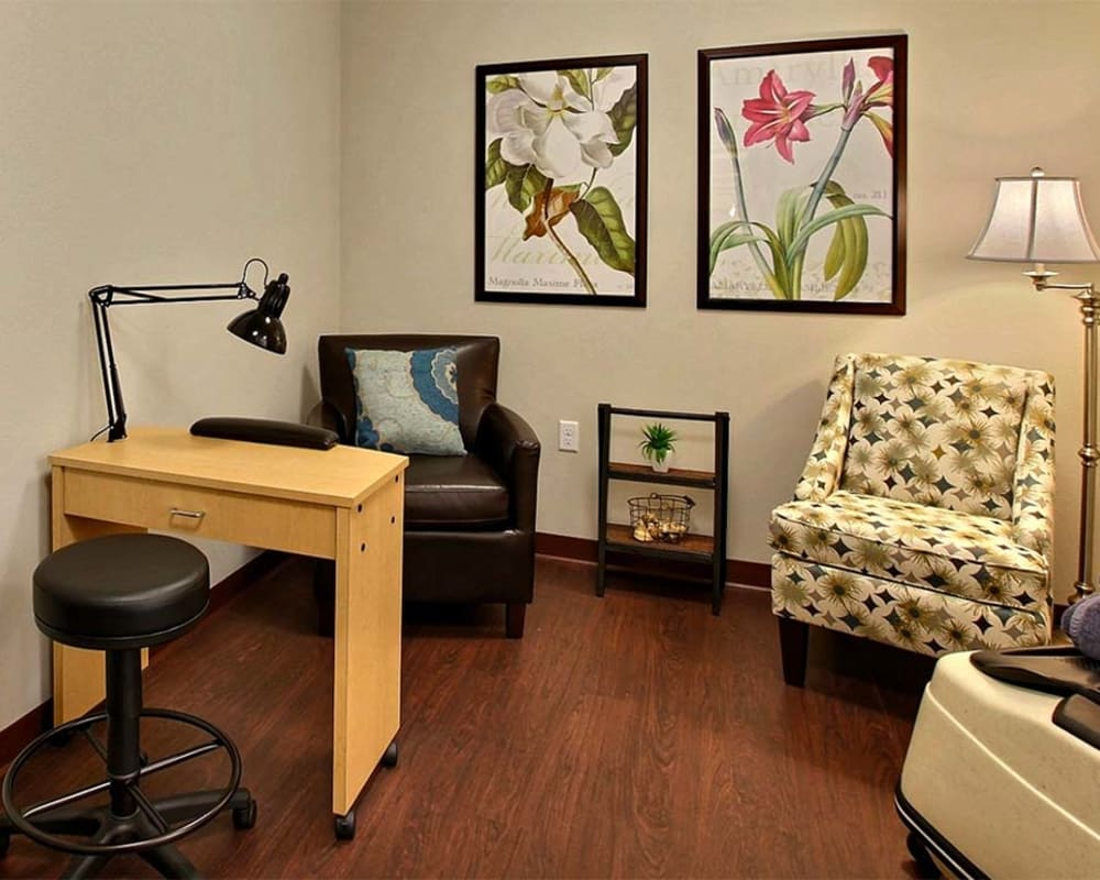 Manicure station for residents at Milestone Senior Living in Woodruff, Wisconsin.